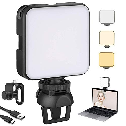 NexiGo 2021 Video Conference Lighting Kit, Dimmable & Rechargeable Laptop Webcam Lighting with Clip, 2.8 Inch Cube LED Camera Light for Zoom Meeting, Video Conference, Streaming, Photography, Vlogging