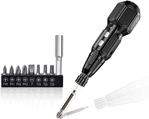 Rechargeable Cordless Screwdriver-Electric Screwdriver Hand Tool Kit Set for Man Women Mini Portable Cordless Power Drill with LED Light,USB Charging Cable (W/ 12bits) Black