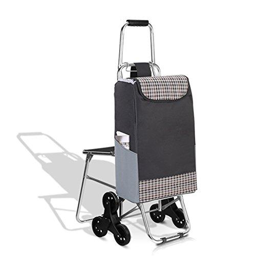 Yxsd Sechs Räder Alu-Legierung Einkaufswagen für ältere Menschen altmodischer Einkaufswagen Faltfahrrad Home Trolley Auto
