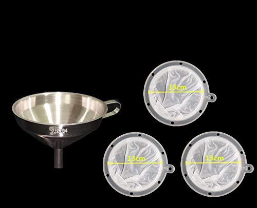Trichter Edelstahl Weinfilter mit Filter 120 mesh Filter Honig/Marmelade/Weinfilter-3 304 Trichter 13cm + 200 mesh Filterscheiben