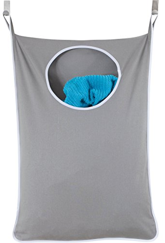 Urban Mom Laundry Nook, Door-Hanging Laundry Hamper with Stainless Steel Hooks, Gray, Large Size