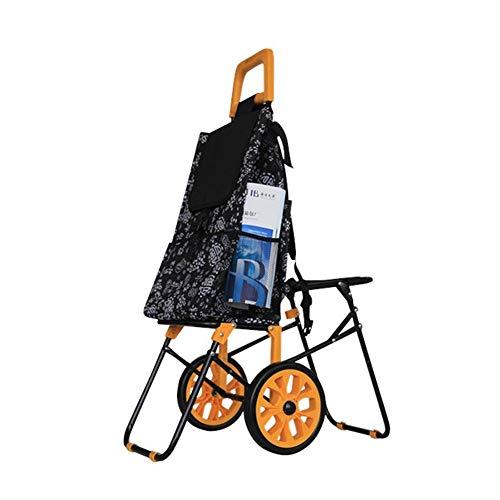 ChengBeautiful Einkaufswagen Leichte tragbare Lieferwagen Einkaufswagen Faltbare praktische Rollwagen Ideal for Mobile Bücher Papier Unterrichtsmaterial Tragbare Wasserdicht Einkaufswagen