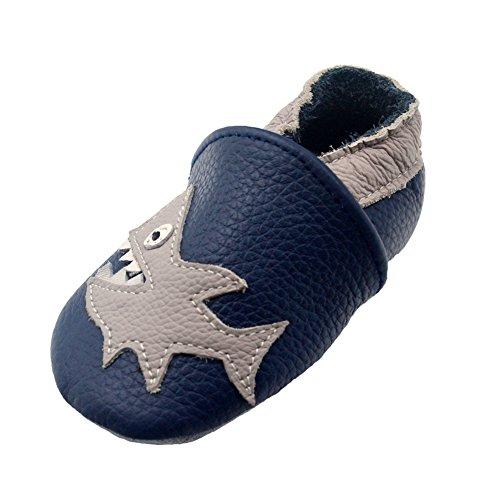 iEvolve Baby Mädchen Jungen Hai Babyschuhe Baby Weiche Sohle Lederschuhe Baby Lauflernschuhe Krabbelschuhe(Marineblau Hai,12-18 Monate)