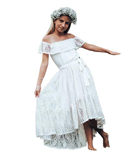 Boho Flower Girl Dresses for Wedding Bohemian Hi lo Off The Shoulder with Sleeves Lace Backless White 8