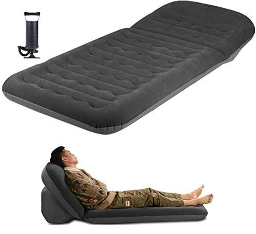 WEYFLY Camping Luftmatratze, aufblasbare 2in1 Camping Schlafmatte/Matte mit Handpumpe und Tasche, verstellbare Rückenlehne, Liege Air Sofa Tragbarer Strandkorb Bett, Indoor Outdoor Wandern