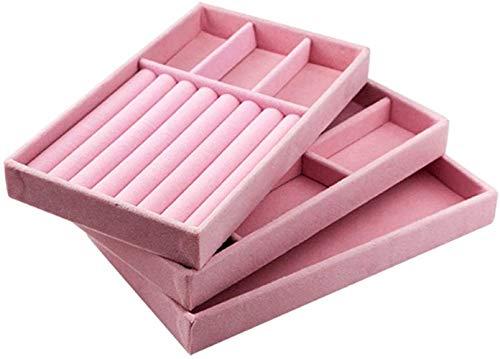 Paelf Joyero de Almacenamiento, la Bandeja de Joyas, Joyas Caja de Almacenamiento de Terciopelo, Caja de Almacenamiento de joyería, Caja de Papel del Anillo,Pink