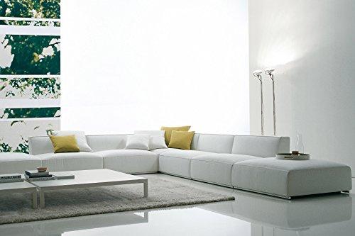 Divano angolare Grande Casablanca, Divano 2 posti Formato da Due Moduli 90x90 cm - 180x65x90 cm, Pelle Spessorata Primo Fiore 7007