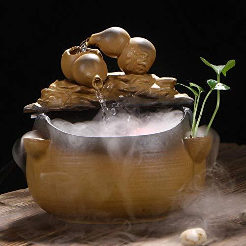 lilizhang Movimiento Perpetuo Dispositivo De Agua Circulante Mesa De Té Decoraciones De Mesa De Té Pequeños Adornos Flujo De Agua Interior Bonsai Feng Shui-B21 * 21.5 * 23Cm