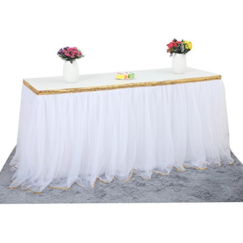 White Table Skirt Tulle Table Skirt With Gold Sequin for Bridal Shower Wedding Baby Shower Birthday Party 14 ft