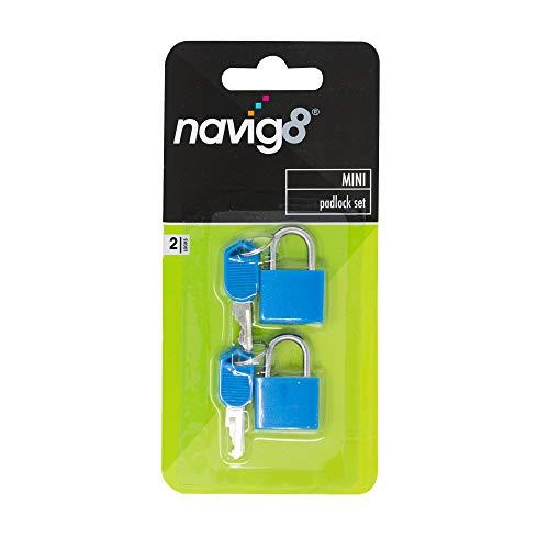 navig8 Mini Padlock Set — Locks with Keys for Luggage, Suitcases, Backpacks, Lockers and Equipment (Pack of 2)