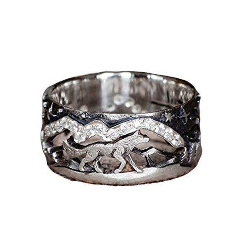 Osflydan Fashion Wolf Couple Rings,Vintage 925 Silver Wolf Walking Forest Band Ring For Men Women Punk Gothic Party Jewelry Couples Lovers Birthday Gift (Women, 10)