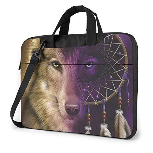 Wolves and Dream Catchers Laptop Bag Briefcase Shoulder Mesenger Bag for Women Men 15.6 Inch