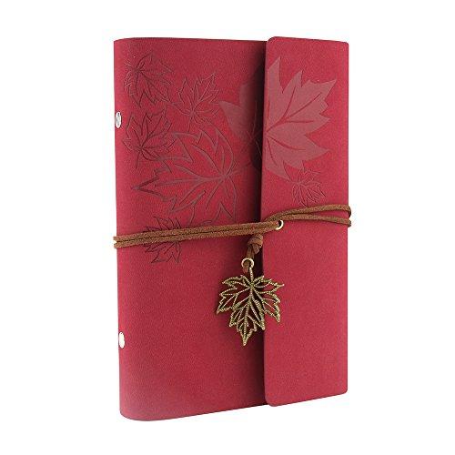 XUAN Libreta Bonitas entre A6-A5,Diarios para Escribir Cuero Vintage Cuaderno de Viaje blank/plain notebook Página Blanco Regalo originales Navidad para Mujer niña adulto Infantiles Hoja de arce,Rojo