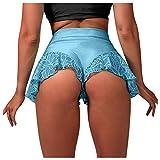 FORUU Shorts for Women 2021 Summer New Sexy High Waist Pole Dance Ruffled Shorts Plus Size Hot Pants Mini Tight Bikini Shorts Flare Yoga Shorts Cute Pj Shorts Exercise Shorts Sexy Shorts
