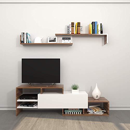 THETA DESIGN by Homemania, Fenice, Porta Tv, Marrone, 120.5 x 30.5 x 16.5 cm