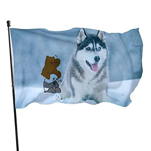 Bandera de jardín de husky siberiano gris blanco para interior y exterior, 3 x 5 pies, banderas de playa duraderas y resistentes a la decoloración con encabezado, fácil de usar
