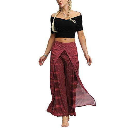 Generic Large Jambe Lâche Yoga Harem Pants Femmes Été Respirant Élastique Taille Haute Pantalon avec Split Ends, Plus La Taille