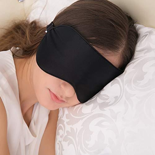 Máscara de dormir negra, máscara de ojos para dormir, máscara de dormir de seda, ideal para viaje/siesta/dormir de noche, estar en mi cara toda la noche