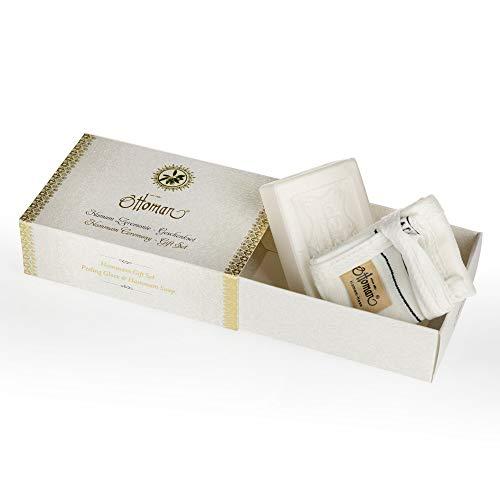 Savon et gant exfoliant Hammam Set coffret cadeau - Vegan - peeling Kessa et Savon Dalan Sultan 125g à l' huile d' Olive - Coupé à la main - Nourrissant et Hydratant - Naturel - Spa