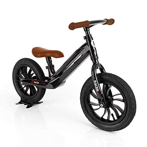 QPLAY - Bicicleta sin Pedales Tech Balance Bike Racer Negra - Asiento Ajustable en 4 Alturas y Acolchado - Ideal para niños de 2 a 4 años (máximo 30 Kg)