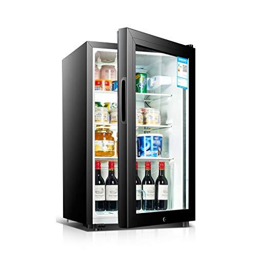 YX Mini Fridge Refrigerador de Bebidas Mini refrigerador Puerta de Vidrio para Soda Cerveza Vino Puerta de Vidrio de Acero Inoxidable Máquina dispensadora de Bebidas pequeña Pantalla Digital para el