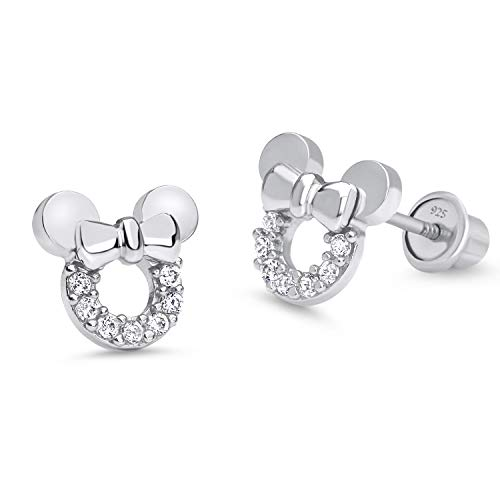 925 Sterling Silver Rhodium Plated Mouse Cubic Zirconia Screwback Baby Girls Earrings