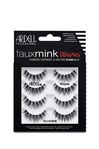 ARDELL Faux Mink Wispies 4 Pack, 25 g - Wimpern aus Synthetikhaar, vegan, schwarz, black (ohne Wimpernkleber) ultraleicht, flexibel und wiederverwendbar
