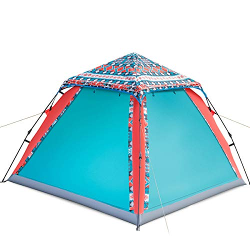 JX-ZHANGPENG Vierpersoons Instant Tent Grote Ruimte Waterdicht En Ademende Camping Tent met Een Paar Polen, Zelfrijdende Tour, Korte Reis