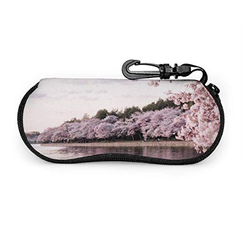 Funda suave para gafas de sol con mosquetón, bolsa de neopreno portátil ultraligera con cierre de cremallera