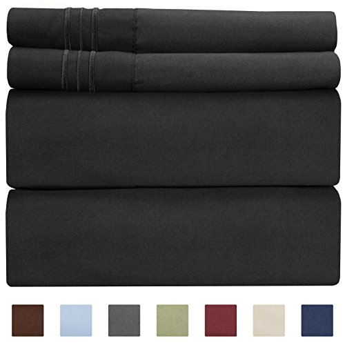 King Size Sheet Set - 4 Piece Set - Hotel Luxury Bed Sheets - Extra Soft - Deep Pockets - Easy Fit - Breathable & Cooling Sheets - Wrinkle Free - Comfy - Black Bed Sheets - Kings Sheets – 4 PC