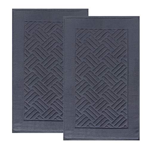 TOMORO Luxuriöse Badvorleger Handtücher – 2 Stück Baumwolle saugfähig Hotel Spa Dusche Boden Handtuch Set für Badezimmer Teppich Pad 50,8 x 81,3 cm