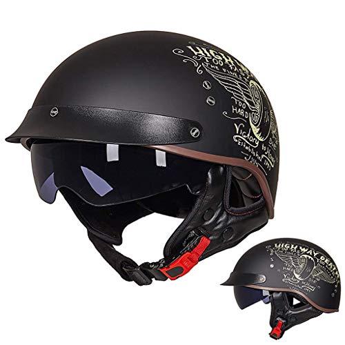 FFYN Casco Retro de Medio Casco para Motocicleta, Medio Casco con Visera, Gafas de Sol integradas, Aprobado por Dot, Estilo Vintage, Casco Abierto, para Hombres y Mujeres, Motocicleta,
