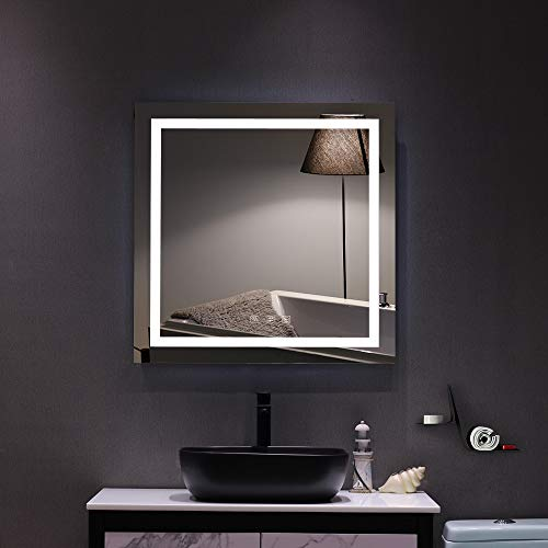 LEEKOUS Best Bathroom Mirror with LED Lights Wall Mounted, Vanity Mirror with Anti-Fog Function Dimmable Touch Switch, Waterproof and Anti Fog, Square Make Up Mirrors (32 x 32)