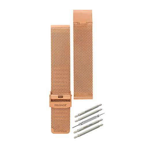 Masar-14mm-Oro Rosa-Cinturino-Orologio-Maglia Milanese per sostituzione multi-marca-Acciaio Inossidabile-(fornito con due barre a molla) (14mm-Oro Rosa)