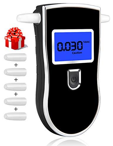 kungfuren Alkoholtester, Atemalkoholmessgerät Tragbarer Digitaler Alkoholtester LED Anzeige Promille-Tester Hochpräzise Resultate Schnell reagierende Geschwindigkeit mit 5PCS Mundstücke