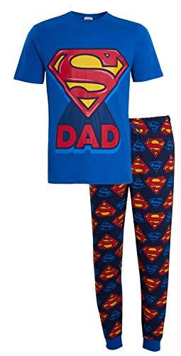 DC Comics Herren Schlafanzug Superman Super Dad, kurzärmeliges T-Shirt + Loungehose Gr. XL, blau
