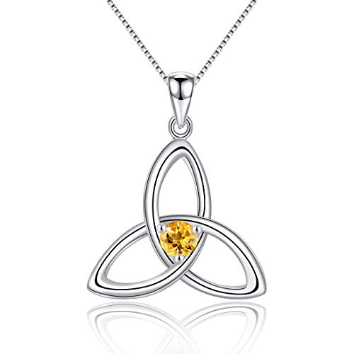 Irish Celtic Triquetra Knot 925 Sterling Silver Natural Citrine November Birthstone Pendant Necklace for Women Fine Jewelry Birthday Gift