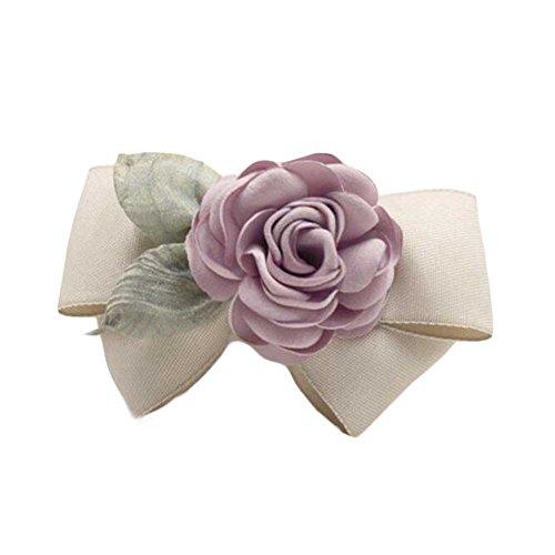 Tissu de Champagne Barrettes à la main Rose Hair Barrette Bowknot Ornements de cheveux