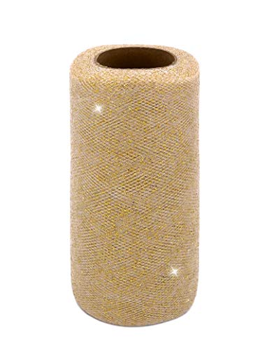 Glitter Tulle Fabric Ribbon Rolls, 6 Inch by 25 Yards (75 feet) Glitter Sparkle Tulle Spool (White/Gold)