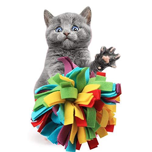 PanDaDa Interactive Wurf Spielzeug für Hunde Katzen Bissfestes Lösen Drucktraining Bunter Plüsch Ball