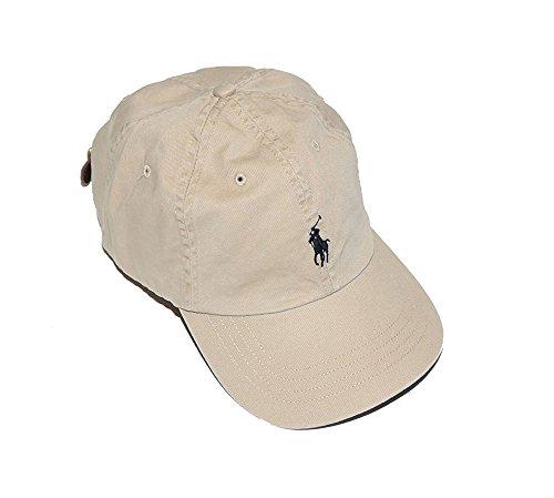 Ralph Lauren Boys Polo Baseball Cap (Size 8/20) (Classic Khaki/Navy Blue Logo)