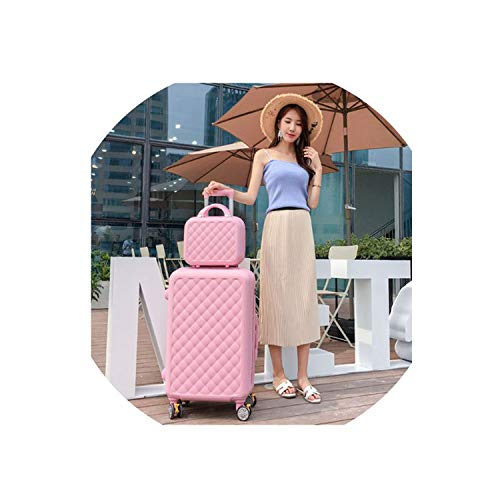 Carry-On Suitcase With Wheels Women Luggage With 14 Inch Travel Bag,Rose,22