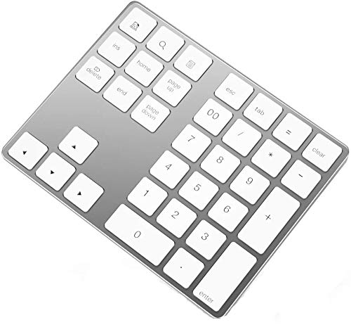 34-Key Bluetooth Number Pad,Ultra-Slim External Numpad Keyboard Data Entry Compatible for MacBook/MacBook Pro/Air and Windows Laptop (Black)