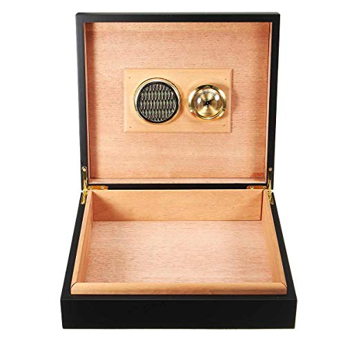 MUY Wood Lined Cigar Storage Case Box with Humidor Humidifier Hygrometer...