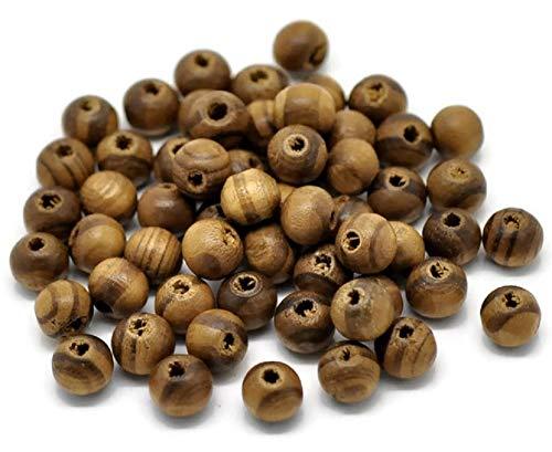 SiAura Material ® - 75 Stück Holzperlen 8mm mit 2mm Loch, Rund, Kaffeebraun zum Basteln
