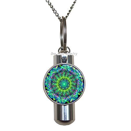 Ni36uo0qitian0ozaap Collar de urna de cremación con símbolo de Om, regalo de amistad, collar de urna de cremación, regalo de yoga para su collar de urna de cremación espiritual, TAP062