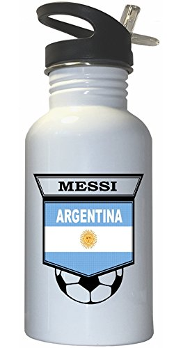 Custom Image Factory Lionel Messi (Argentina) Soccer White Stainless Steel Water Bottle Straw Top
