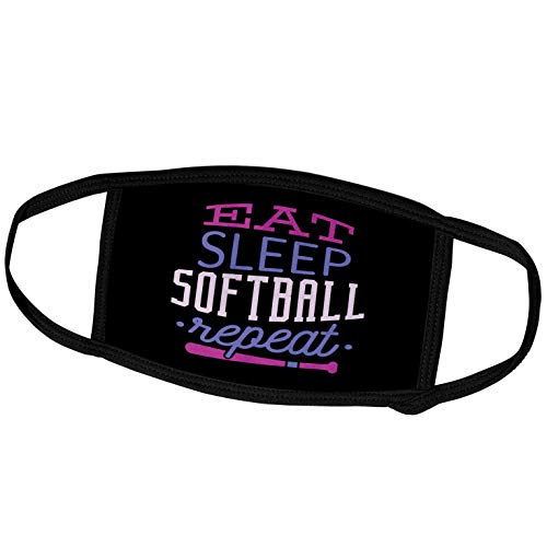 3dRose Sven Herkenrath Sport - Eat Sleep Softball Repeat Funny Quotes for Sport Lovers - Face Masks (fm_319688_1)