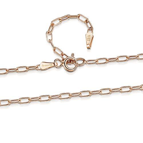 Amberta Joyería Collar en Oro 9Kt - Gargantilla Ajustable de 46 a 51 cm - Cadena en Varios Modelos