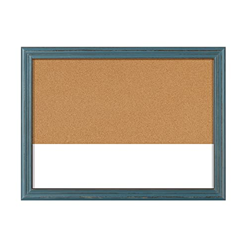 RENRUIRUI Tablón De Anuncios De Corcho Combinación De Pizarra Blanca 45X60CM con Marco Azul Rústico, para Memos De Mensajes De La Oficina En Casa, Imágenes De Visualización